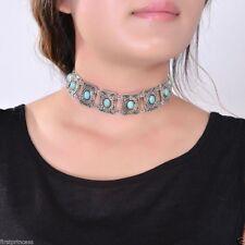 collar bohemio aleacion Vintage Boho Square Carved Turquoise Bead Chain Necklace