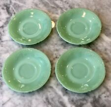 4 Fire King Jadeite Sheaves of Wheat SOW Pattern Saucers ~ Jadite Green Glass