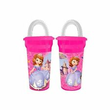 Disney Princess Sofia The First Tumbler Cup With Lid & Straw Pink New