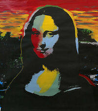 MONA LISA by STEVE KAUFMAN - Andy Warhol -Mixed Media on Canvas- SIGNED & UNIQUE