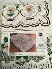 Floral Lace Scene Bed Spread Cloth Fabric Fringe Made In Spain b9