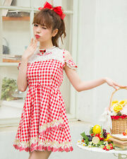 Genuine Liz Lisa Strawberry gingham Pattern one piece dress Red colour BNWT
