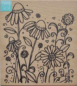 WILDFLOWER GARDEN Rubber Stamp PS0882 Hampton Art Brand NEW! Cam & Chloe Outline