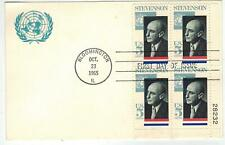 USA Postcard FDC 1275 Unlisted ADLAI STEVENSON PLATE BLOCK FDC on Cacheted Card