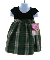 Nannette Infant Girls Blue and Green Plaid Short Sleeve Dress with Bloomers