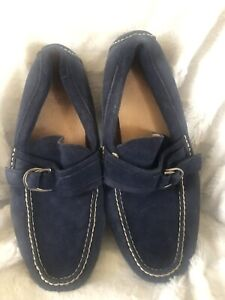 Polo Ralph Lauren Blue Suede Loafers Driving Moccasins Terry D Ring Size 10 D