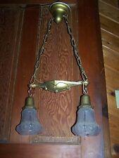 Antique Victorian 2 Light Brass Chandelier W/Tulip Shades