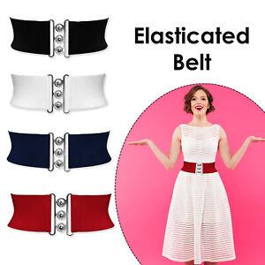 Women Elasticated Waist Belt Wide Classic Nurse Waistband Vintage Retro Stretch