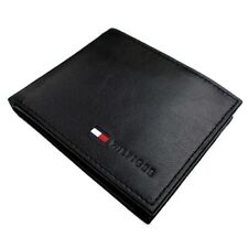 Tommy Hilfiger Classic  Men's Leather Credit Card Coin Id Wallet Black