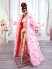 Eaki Pink Fur Coat  Evening Dress Gown Silkstone Barbie Fashion Royalty FR LooK