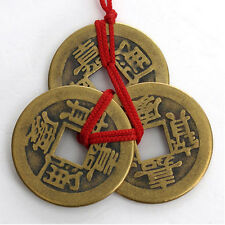 2 Set Of 6 Chinese Feng Shui Coins For Wealth And Success Good Luck Bag Holder