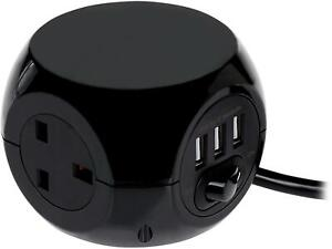 New 3 Way Cube Power Socket with 3 USB Ports & 1.4M Electric Extension Lead