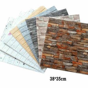10Pcs 3D Tile Brick Wall Sticker Waterproof Self-adhesive Foam Wallpaper Panel