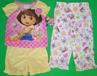 Dora The Explorer Toddler Girls 3 Pc Pajama Set  NWT  2T