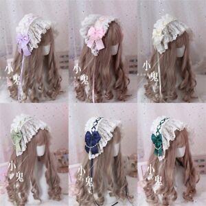 Annie's breakfast Sweet Lolita Bonnet Lace Bow Pearl Princess Headwear Women Cos