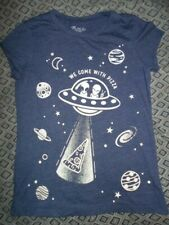 Place Girls 7-8 Aliens Shirt (We Come With Pizza)