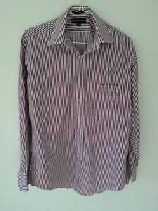Saks Fifth Avenue Men Shirt Purple/white  Size 32/33