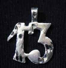 LOOK LUCKY Number 13 # thirteen Charm Real Solid Sterling Silver .925 Jewelry