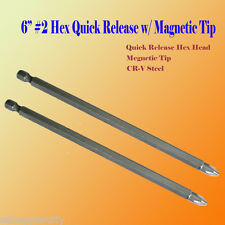 """Pack of 2 6"""" Phillips #2 Magnetic Tip Hex Shank Rapid Change for Dewalt Makita"""
