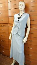 SKIRT SET WEAR TO WORK MADE IN EUROPE WOOL JERSEY TAUPE VEST MID-CALF SKIRT 14 L