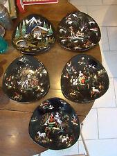 En émaux de Longwy ,5 assiettes ,toutes de décors différents  ,de formes ovoides