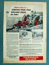 Orig 1954 Fordson Major Diesel Tractor Ad STRETCH YOUR FUEL DOLLARS TWICE AS FAR