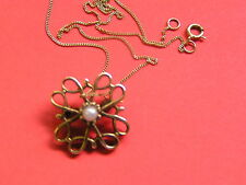 Brooch/Pendant,  Necklace, Gold 9ct .375,Pearl BoxChain, Hallmarked. 2.4g Total