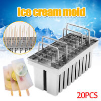 20pcs Stainless Steel Molds Mold Ice Pop Lolly Popsicle Ice Cream Stick Holder