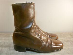 Vintage Inside Leg Zip Leather Men's Beatle Beatles Indie Mod Boots Booties 8.5