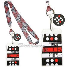 Twenty One 21 Pilots Band Allover ID Badge Holder Lanyard w/ Rubber Logo Charm