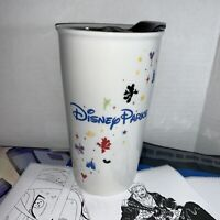 Starbucks Disney Parks Ceramic Tumbler Traveler Coffee Mug 12 oz with Lid *read*