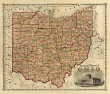 """1860s """"Township Map of the State of Ohio� Vintage Style Us Map - 16x20 0000000A"""