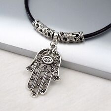 Silver Alloy Hand Eye Khamsa Hamsa Pendant Black Leather Cord Choker Necklace