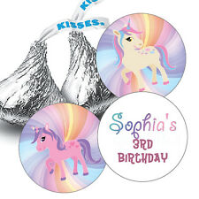 108 Unicorn Personalized Birthday Hershey Kiss Stickers - Rainbow Background