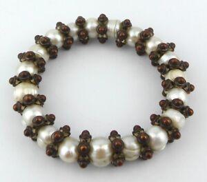 ETHNIC - CIRCLE PEARL & METAL SEGMENTED ELASTICATED BRACELET - 19 Circle Pearls