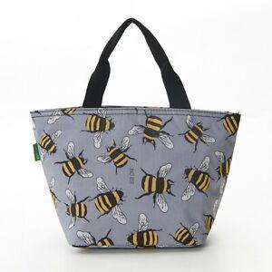 Bee Design Lightweight  Zip up Lunch Bag, Blue, Grey Beekeepers Lunch box