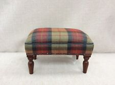 Footstool upholstered in 100% wool plaid Orchid Fruits
