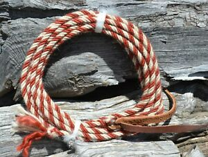 """Jose Ortiz 4 st x 1/4"""" Mohair Get Down Rope 16' - Rusty Brown & White"""