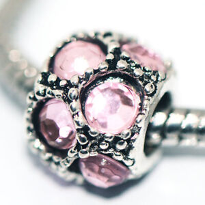1x Pink Crystal Bead Charms Spacer Fit Eupropean Chain Bracelet Making Jewelry