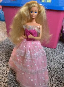 Mattel Barbie 1985----Dream Glow Blonde Doll----Starry Gown Glow in Dark! #2248