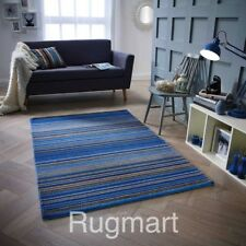 STRIPED BLUE Multi Coloured HIGH QUALITY Modern Hand woven Wool Rugs & Runners