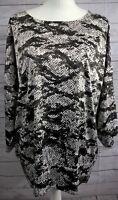 Chico's Pullover Blouse Top Size 2 (12) Black Gray Snake Print Kimono Sleeve