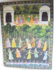 More details for substantial antique indian painting on cloth of convivial gathering of princes