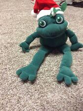 """Vintage Applause Stuffed Christmas Frog 11"""" long CS1"""