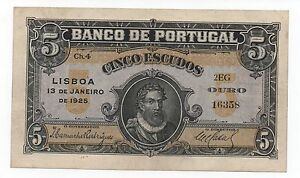 PORTUGAL 5 ESCUDOS 1925 PICK 133 LOOK SCANS
