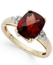 14k Gold Garnet and Diamond Ring and Matching Pendant