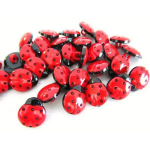 50 Pack of Red/Black 1-Hole Ladybird Buttons Sewing DIY Craft Embellishment Bug
