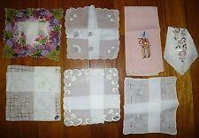6 Vintage Handkerchiefs Hankies & Guest Towel Embroidery Malfred Switzerland