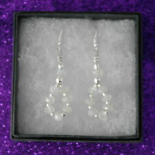 Beautiful Earrings With Faceted Moonstone 2.5 Gr. 4 Cm. Long + Hooks In Box