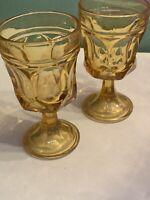 Vtg Indiana Glass Stem Amber Water Juice Goblets Drinking Glasses - Set Of 2